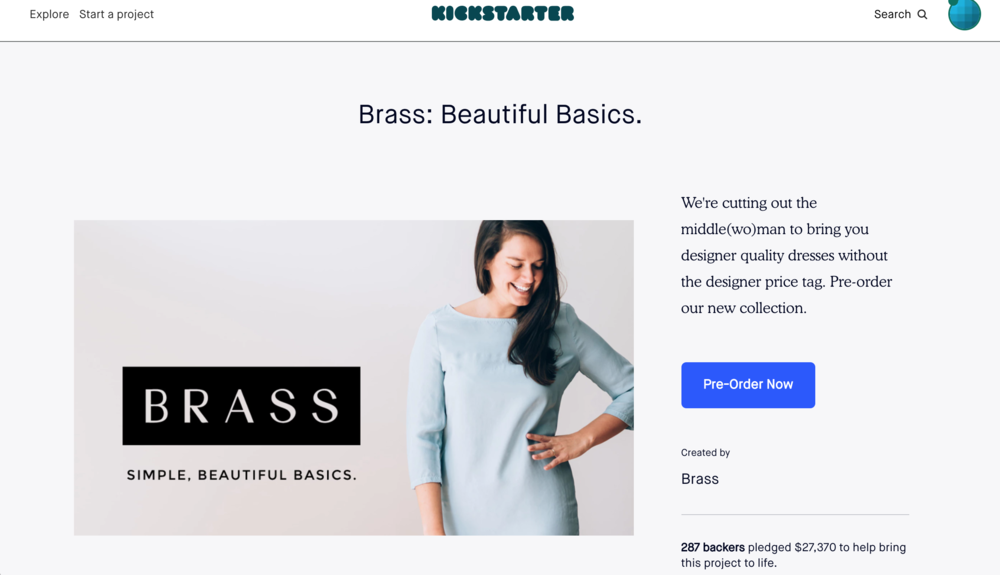 Brass Clothing Kickstarter Campaign