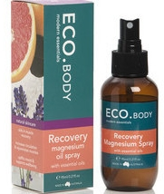 ECO.Aroma Recovery Magnesium spray with black pepper oil, grapefruit oil, thyme oil and marjoram oil to help with muscle aches, cramps and stiffness.
