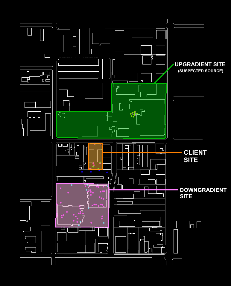 Client site and neighbouring properties