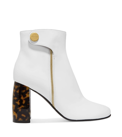 Stella McCartney - White Faux Leather Ankle Boots With A Sculptural Tortoiseshell Heel And Retro-inspired Gold Hardware