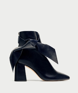 Zara - Navy Blue Leather High Heel Ankle Boots With Bow