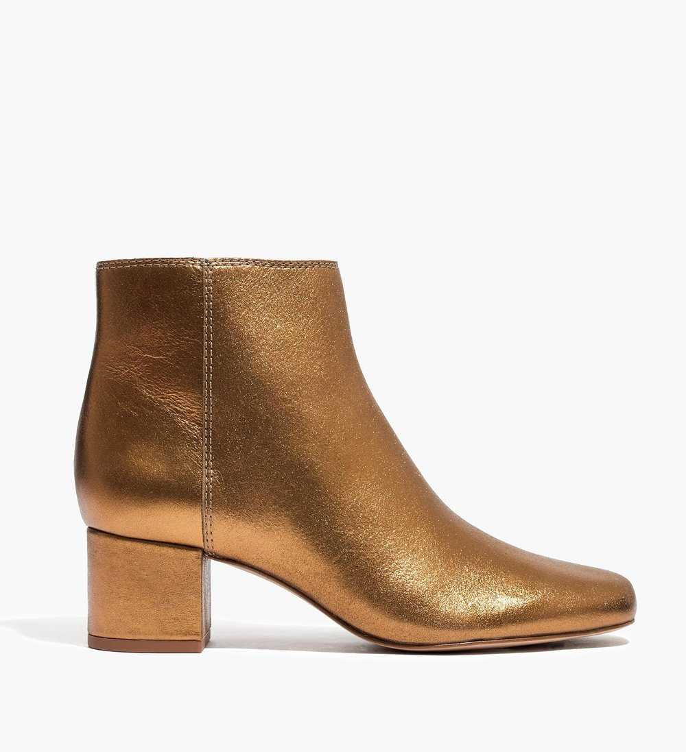 Madewell - Sleek Ankle Boots In Metallic Leather