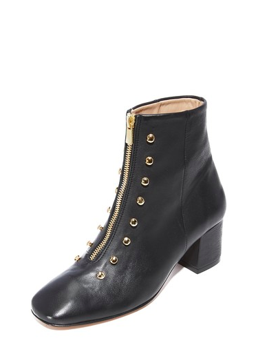 An Hour and A Shower - Modern Booties In Smooth Calfskin With Lace Hook Hardware Details The Front Zip