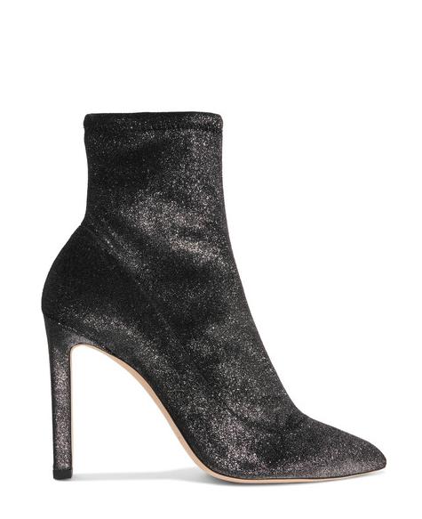 Jimmy Choo - Glittering Gunmetal Stretch-velvet Sock Boots