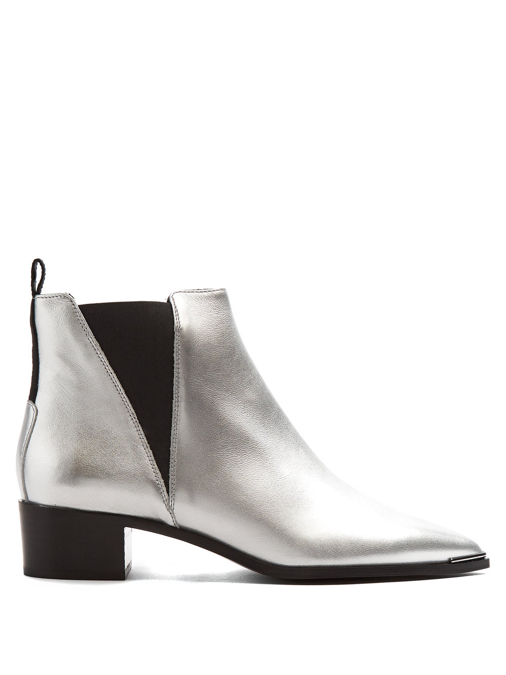 Acne Studios - Striking Silver Leather Boots With Elasticated Side Panels