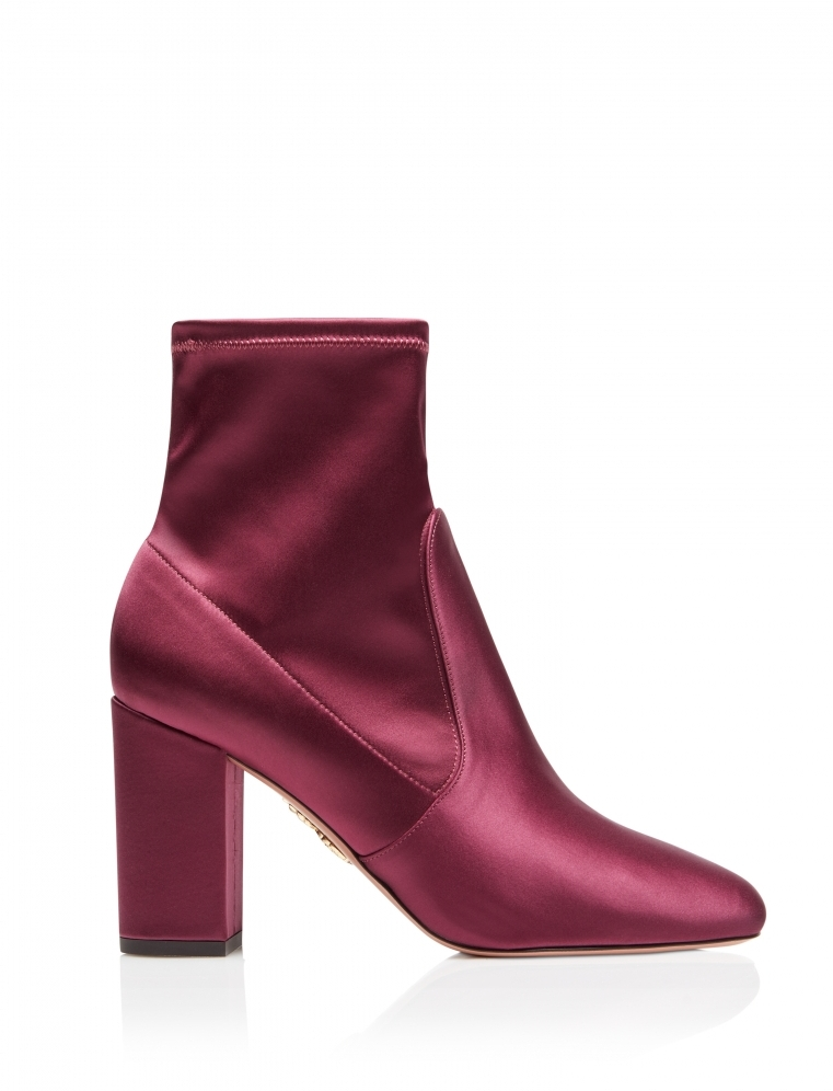 Aquazzura - Bold Sangria Pointed Toe Bootie in Smooth And Stretch Satin