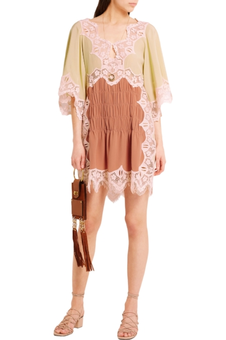 CHLOÉ - Antique-rose And Sage-green Silk Mini Dress With Smocked And Macramé Lace Trims