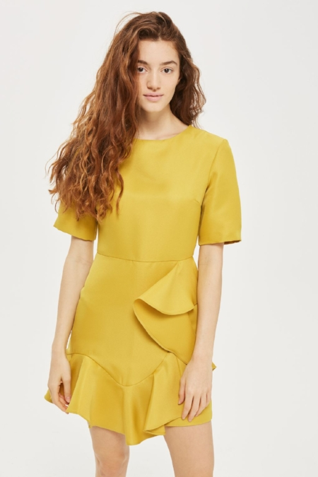 Topshop - Frill Front Satin Mini Dress In Elegant Chartreuse Color