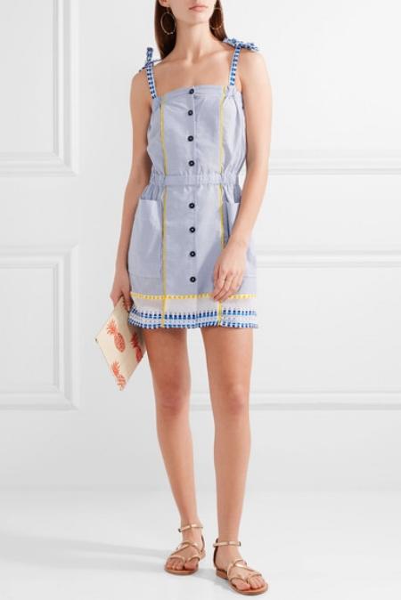 LEMLEM - Striped Tonal-blue, White And Yellow Cotton-blend Mini Dress