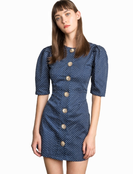 Pixie Market - Navy Polka Dot Button Front Dress With Puffy Sleeves