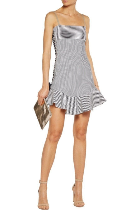 JUST CAVALLI - White And Midnight-blue Striped Cotton-blend Mini Dress