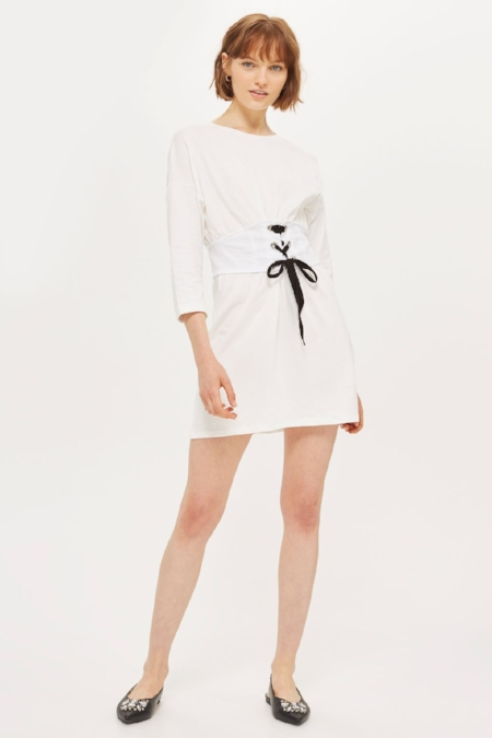 Topshop - White T-shirt Dress With Corset Detail Around The Waist