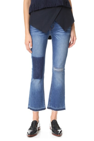 Derek Lam 10 Crosby - Gia Mid Rise Cropped Flare Jeans