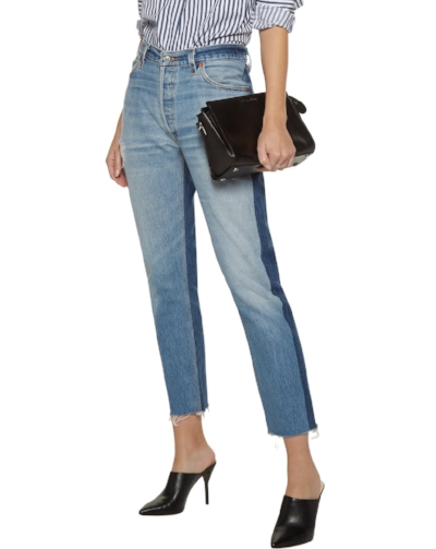 RE/DONE - Mid-rise Cropped Two-tone Slim-leg Jeans