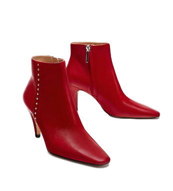 Zara Leather Ankle Boots With Studs