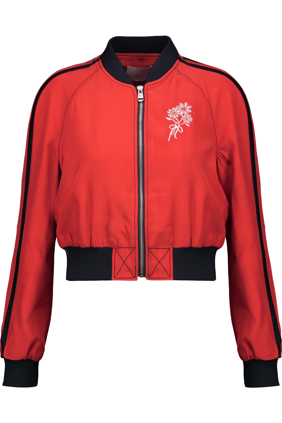 CINQ A SEPT Embroidered Silk-satin Bomber Jacket
