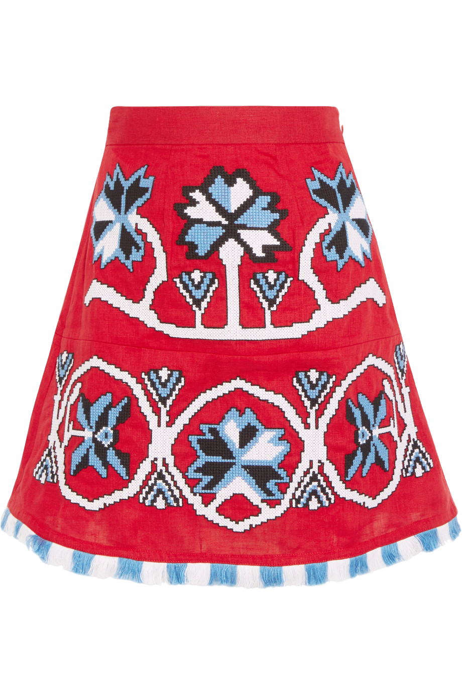 MARCH11 Embroidered Linen Mini Skirt
