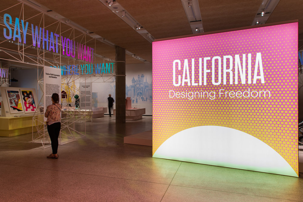 Exhibition graphics for  California: Designing Freedom