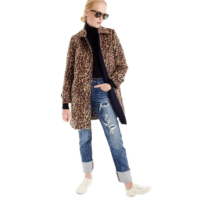 J.Crew - Petite Topcoat In Double LeopardLeopard, the iconic print, comes back with a decidedly polished and wearable slant this year. This fuzzy, brushed wool coat layers perfectly over your entire winter wardrobe. It offers petite sizes that designed with smaller proportions in mind.