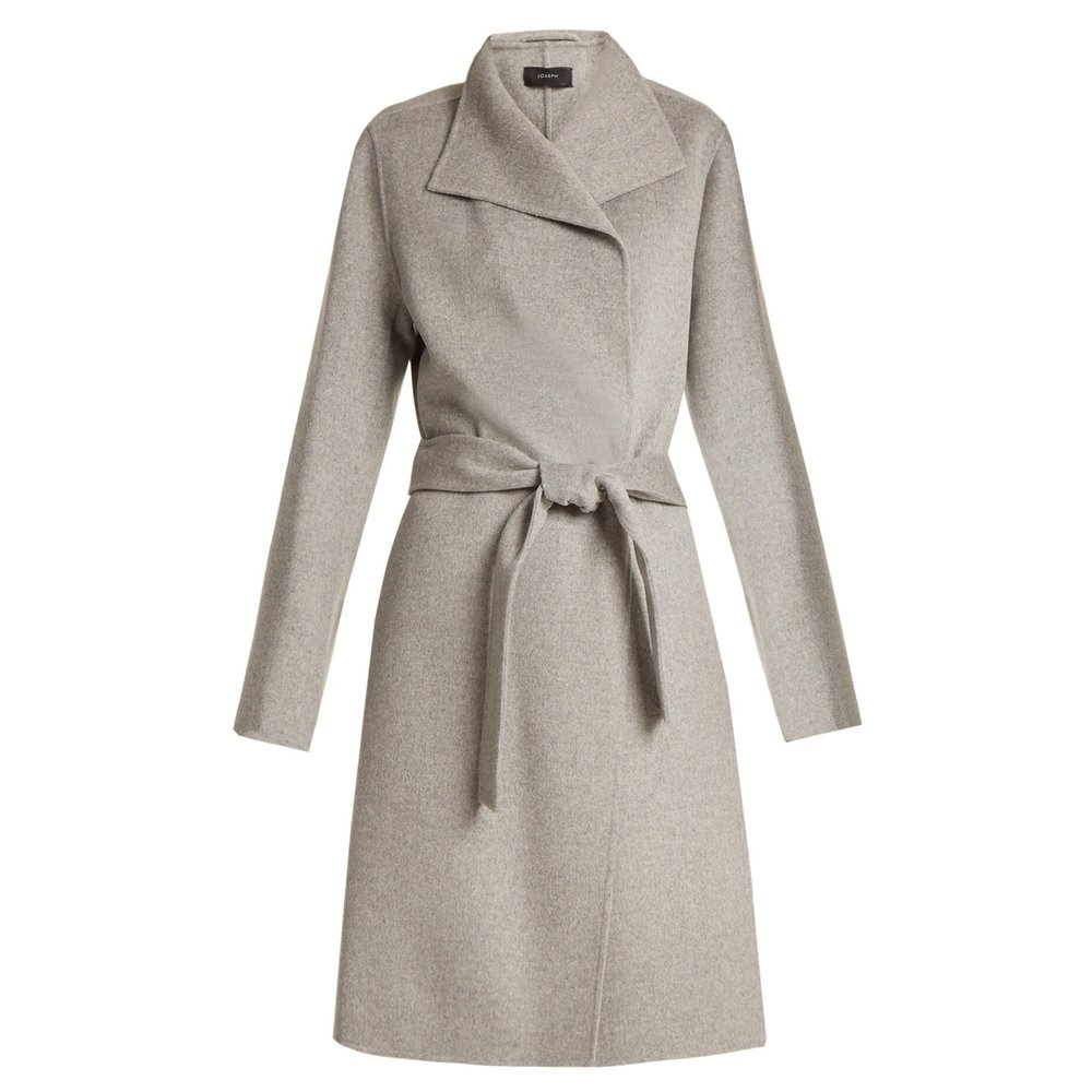 Joseph - Lima Long Wool And Cashmere-blend CoatLook for sleek and simple cuts that aren't too boxy or voluminous. A long, lean line will create the illusion of height. This grey coat is cut from an ultra-soft blend of wool and cashmere, and simply wraps around the figure with an open front and matching waist belt.