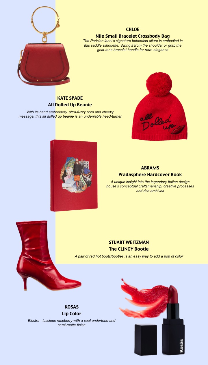 ON-TREND RED - 1.Chloe Nile Small Bracelet Crossbody Bag2. Kate Spade All Dolled Up Beanie3.Abrams Pradasphere by Michael Rock and Stephanie Murg Hardcover Book4.Stuart Weitzman The CLINGY Bootie5.Kosas Lip Color -Electra