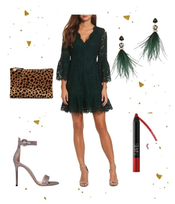 Festive Green - Dress:Eliza JSandals:Gianvito RossiClutch:Clare V.Earrings:LIZZIE FORTUNATOLipstick: Nars