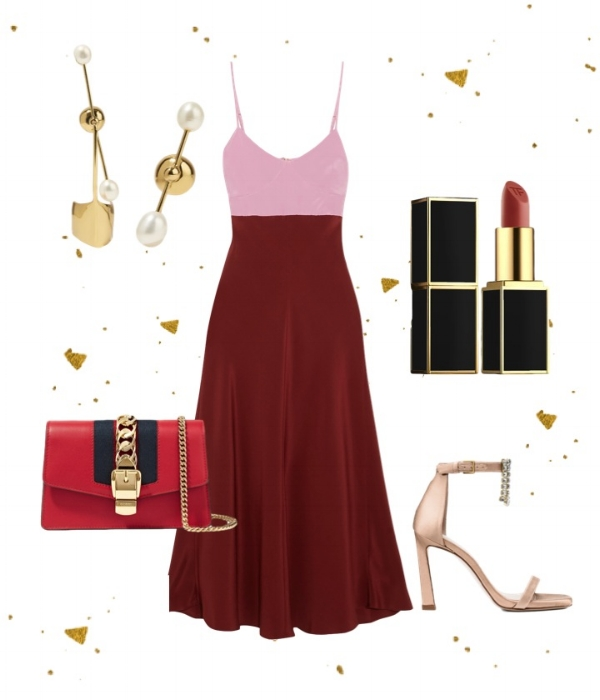 Shades Of Red - Dress: TibiSandals: Stuart WeitzmanBag: GucciEarrings: ElleryLipstick: Tom Ford