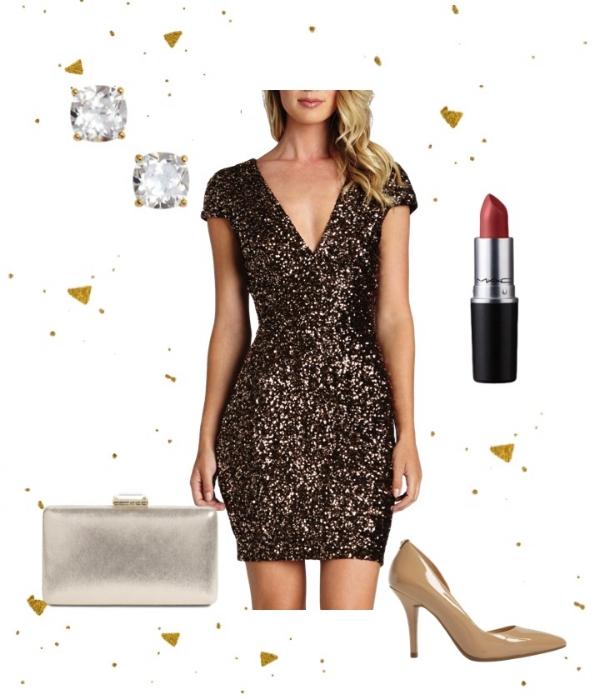 All That Glitters - Dress:Dress the PopulationPump:Michael KorsClutch: NordstromEarrings:kate spade new yorkLipstick: MAC