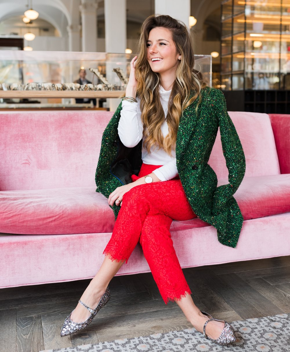 - Green Italian tweed coat, bright cerise lace pants, and siver glitter Mary Jane flats, take a styling tip for this upcoming holiday season!❤️🎄✨💚@helloitsloh is 5'2