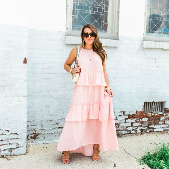 - Flouncy tiers take this flowy maxi from perfectly pretty to positively dreamy. It is the perfect pick for all of your summer plans!🌸@glitterandginghamis 5'2
