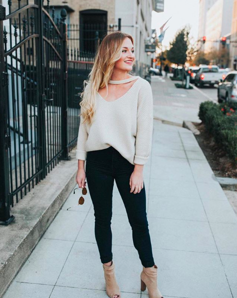 "- There's nothing better than bundling up in soft, chunky knits like the this oversized choker-neck sweater on chilly days. Simply half-tuck it into skinny jeans paired with ankle booties for a chic winter outfit that'll take you from day to night in stylish comfort!@blissfully_blair is 5'4"" and 120 lbsSweater: Charlotte Russe SmallJeans: H&M Size 26Booties: Chinese Laundry Kristin Cavallari US7"