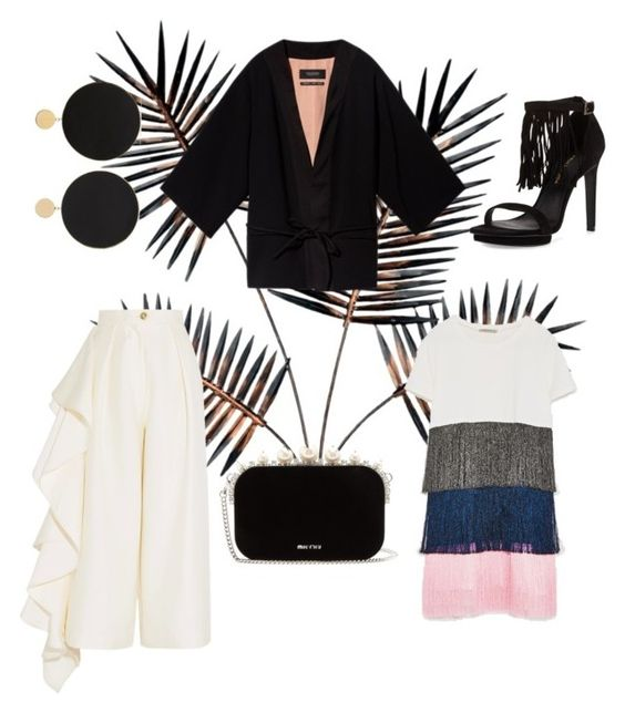 Arme De L'Amour Gold-plated leather earrings      Scotch & Soda Black Kimono Blazer      Taft 3 Suede Fringe Sandal      S  olace London ruffled crepe culottes      MIU MIU   pearl and crystal-embellished velvet clutch      Zara Fringed Dress