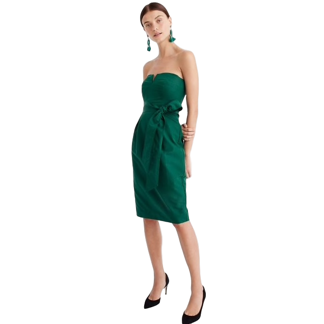 J.Crew - Petite 00 - 12A classic A-line silhouette + flattering tie at the waist + beautiful academic green = our pick for the bridal party and more.