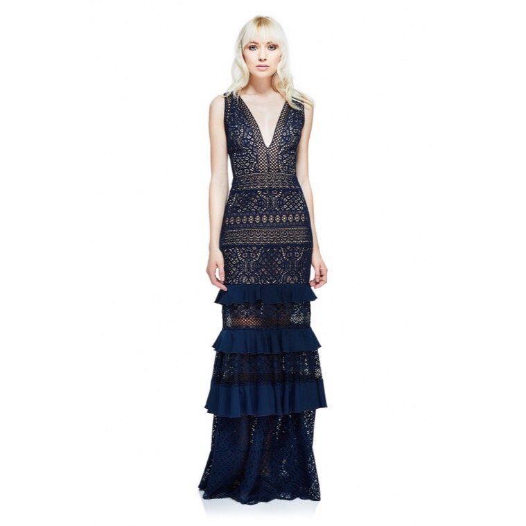 TADASHI SHOJI - Petite 0P - 18PCrochet lace takes over this dreamy dress. This sleeveless gown features a plunge neckline and hugs the body throughout. At mid-thigh, ruffled tiers on a sheer skirt hits the floor with a scalloped hem.