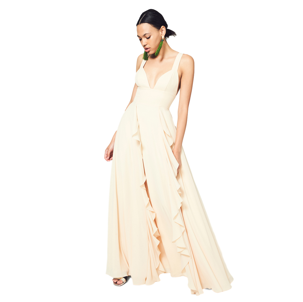 Fame and Partners - Size 0 - 22 and tailoring according to your heightGo with the flow. The Valley is a heavy georgette tri-cup maxi dress featuring a cascading, ruffled skirt. It has an invisible zipper and hook and eye closure.