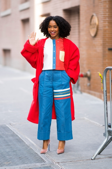 Building a statement look around a color block theme - white, blue, and red!
