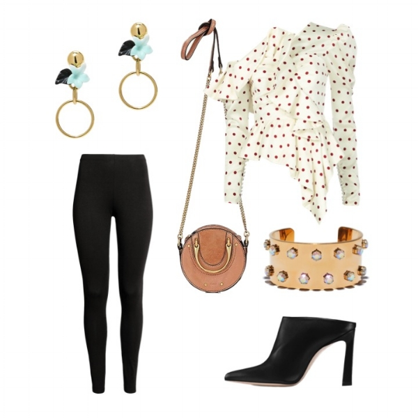 H&M Jersey Leggings    Self-Portrait Polka Dot Frill Top    Stuart Weitzman Pump    Chloe Pixie Mini Bag    Lele Sadoughi Earrings    Lele Sadoughi   Crystal Cuff