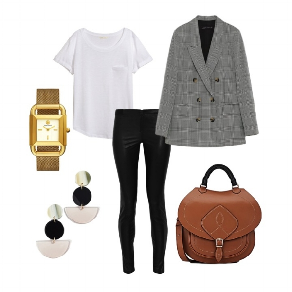 Alice + Olivia Leather Leggings    Zara Checked Double-Breasted Blazer    H&M Jersey T-Shirt    Maison Margiela Saddle Bag    Rachel Comey Earrings    Tory Burch Watch