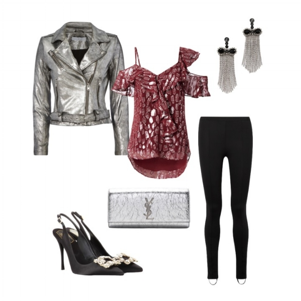 Helmut Lang Leggings    IRO Moto Jacket    Veronica Beard   Cold Shoulder Top    Roger Vivier Pump    YSL Metallic Clutch    Marc Jacobs Earrings