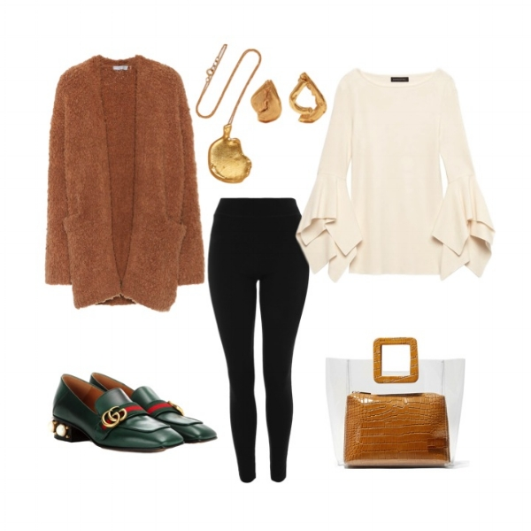 Topshop Petite Leggings    Vince Cashmere Cardigan    Banana Republic Sweater Top    Gucci Mid-Heel Loafers    STAUD   Shirley Tote    Alighieri Necklace    Alighieri Earrings
