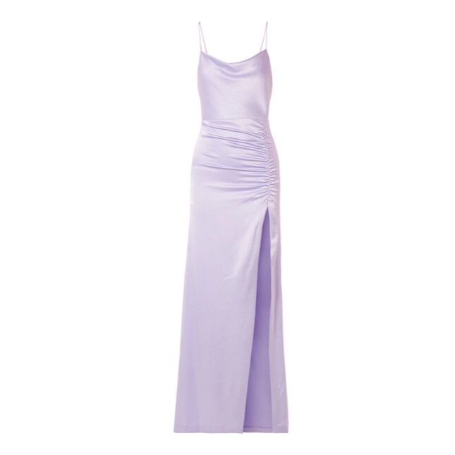 Alice + Olivia - Diana Ruched Satin Maxi Dress