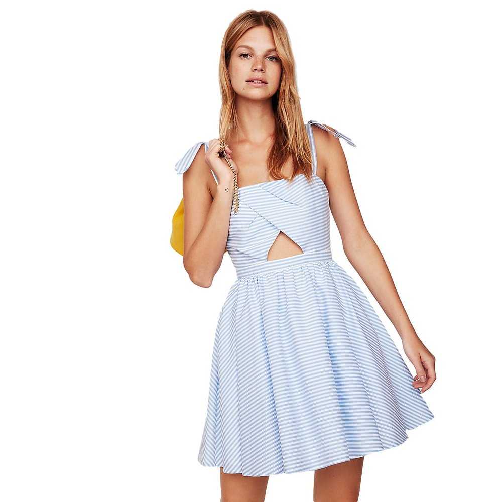 Express - Stripe Cutout Fit And Flare Dress