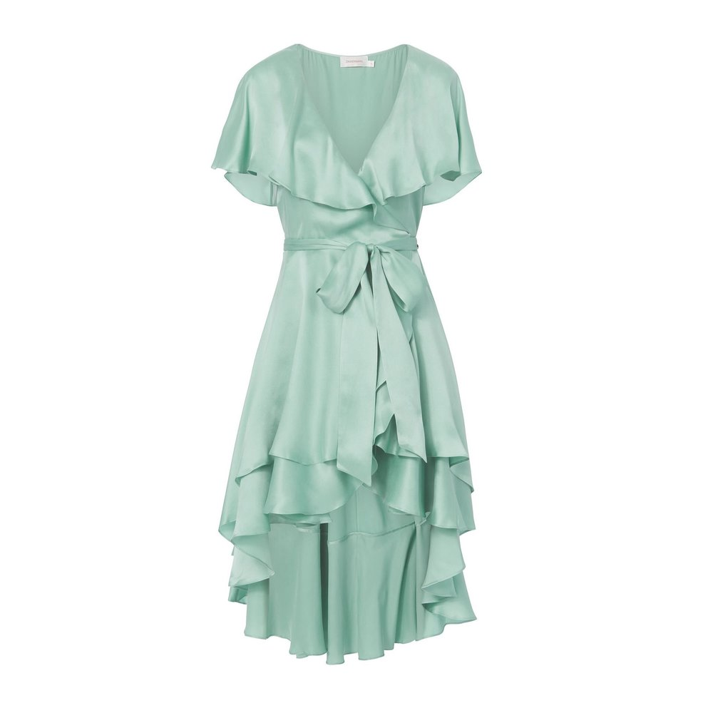 Zimmermann - Ruffle Wrap Blue Midi Dress