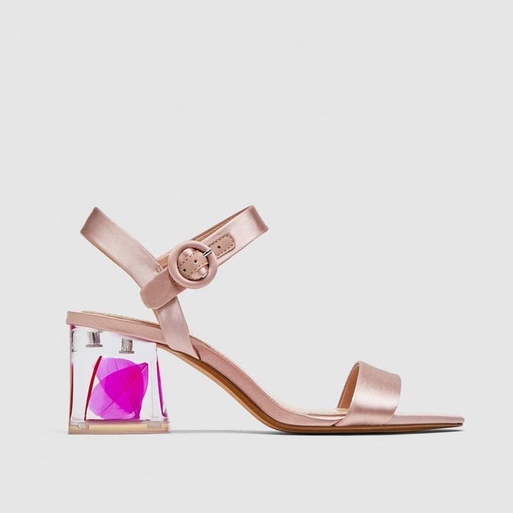 Zara - Satin Sandals With Embellished Heels
