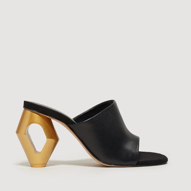 Mango - Metal Heel Leather Mules