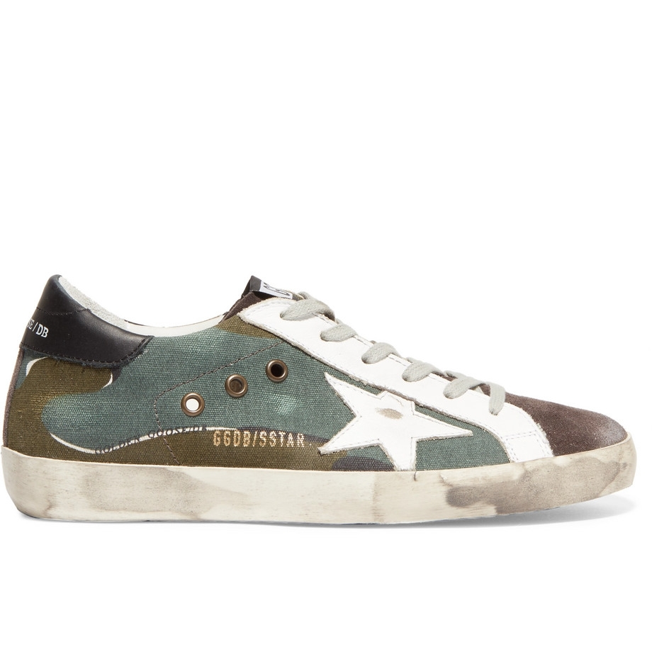 Golden Goose - Superstar Distressed Printed Canvas, Leather and Suede Sneakers