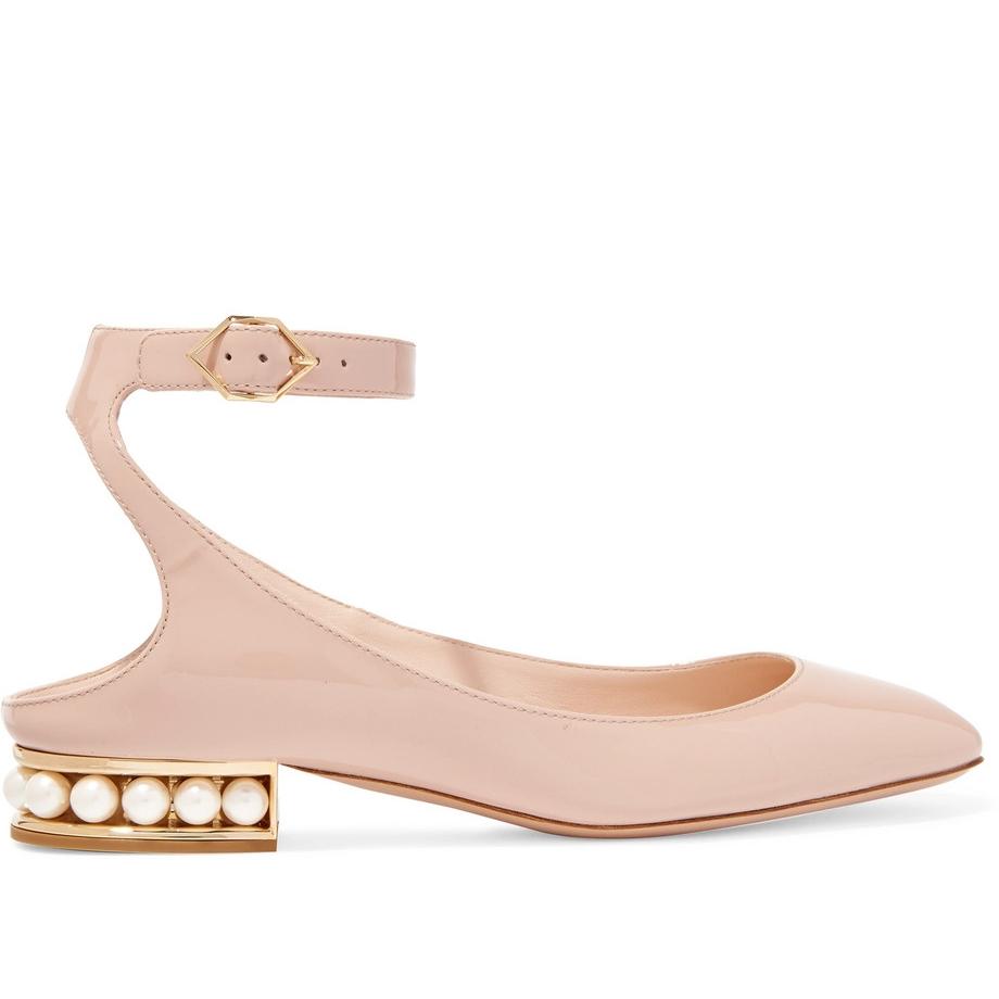 Nicholas Kirkwood - Lola Embellished Patent-Leather Ballet Flats