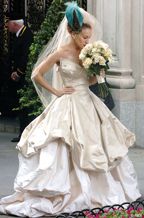 Carrie in her Vivienne Westwood wedding dress with an avian veil at New York's St. Patrick's Cathedral.