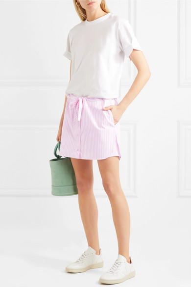 Victoria, Victoria Beckham - Layered Striped Cotton ShortsThese cotton shorts feature a skirt-style overlay and candy-pink stripes.