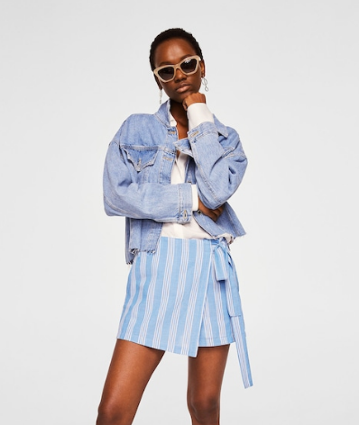 Mango - Striped SkortThis blue and white cotton blend striped skort is full of youthful energy.